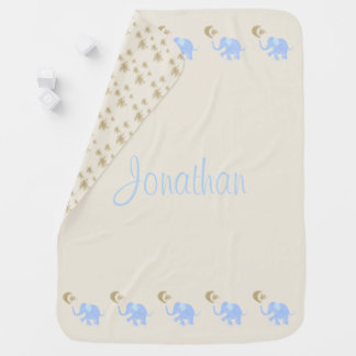 Baby's Name Blue Elephants with Moon and Stars Baby Blanket