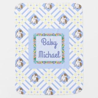 Baby's Name Blue English Bulldog Pramblanket