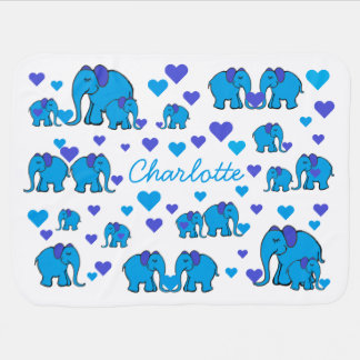 Baby's Name on Blue Elephants and Hearts Blanket