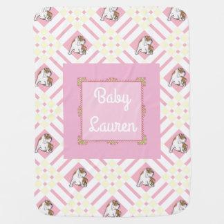 Baby's Name Pink English Bulldog Baby Blankets