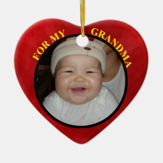 Baby's Red Heart Photo Gift Tag For Grandmother Ceramic Heart Decoration
