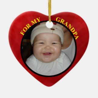 Baby's Red Heart Photo Gift Tag For Grandpa Ceramic Heart Decoration