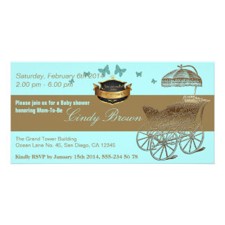 BabyShower / The Golden Carriage - Invitation Customized Photo Card