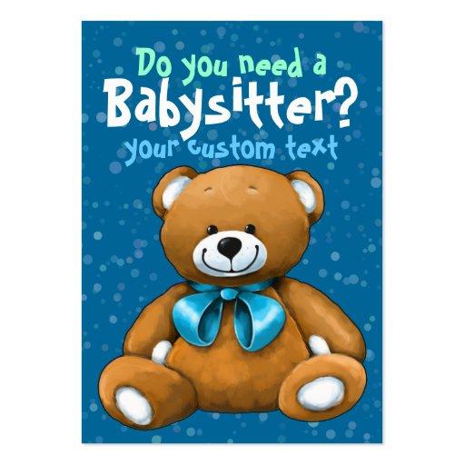 Babysitter Babysitting DayCare ChildCare Blue Business Cards