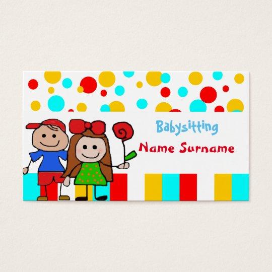 babysitter,babysitting, nursery school . business card