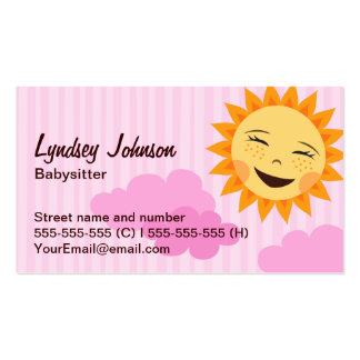Babysitter business card pink with cute sun