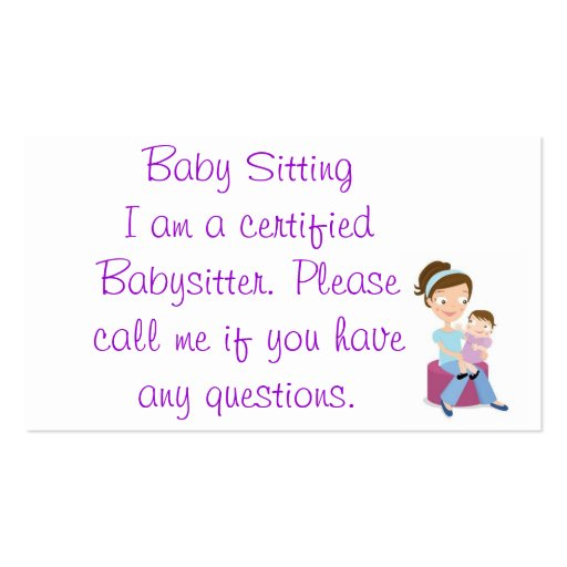 babysitter business card templates : Zazzle