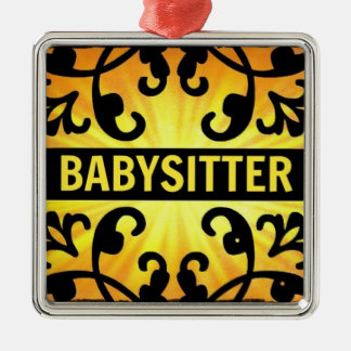 Babysitter Damask Christmas Ornament