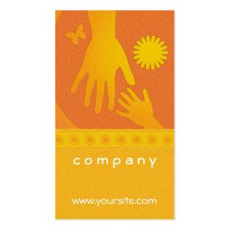 Babysitter Hands Yellow Orange Business Card Templates