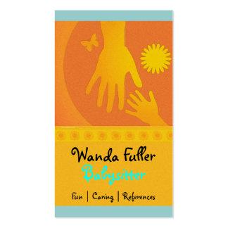 Babysitter Hands Yellow Orange Business Card Template