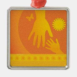 Babysitter Hands Yellow Orange Christmas Ornament