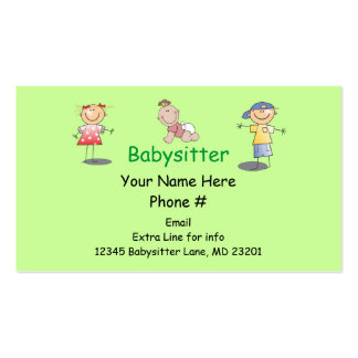 Babysitter Nanny Cartoon Stick Kids Boy Girl Baby Pack Of Standard Business Cards