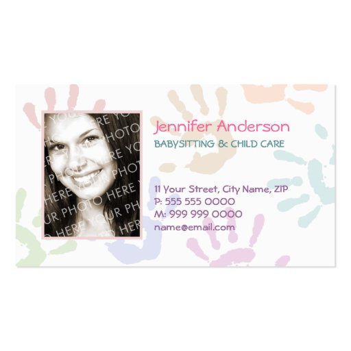 Babysitter personalized business card