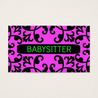 Babysitter Pink Damask Business Card
