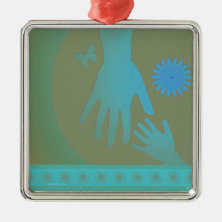 Babysitter Turquoise Tan Hands Christmas Ornament