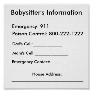 Babysitter's Information Poster