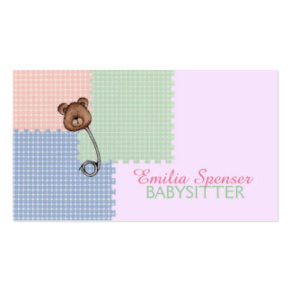 Babysitting & Child Care Bear Brooch Card Pack Of Standard Business Cards
