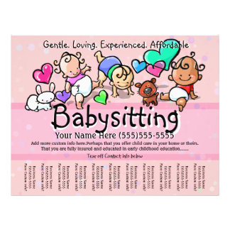 Babysitting.Child Care.Day Care.Custom text/color 21.5 Cm X 28 Cm Flyer