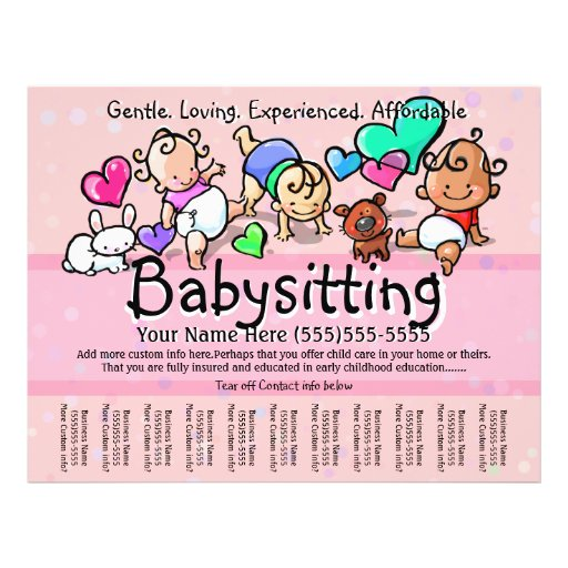 Babysitting.Child Care.Day Care.Custom text/color Flyer