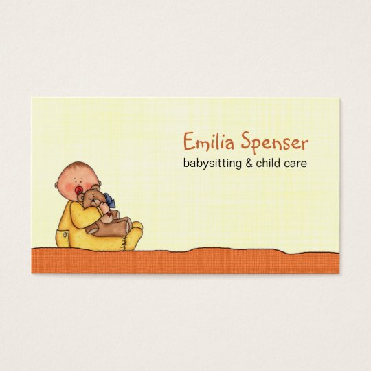 Babysitting & Child Care Yellow Business Card