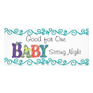 Babysitting coupon personalized rack card