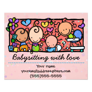 Babysitting day care child care promo glossy 4x5 11.5 cm x 14 cm flyer