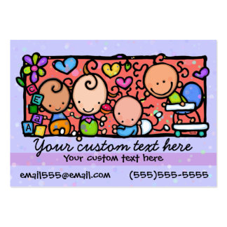 Babysitting Day care. Child care.Purple. Pack Of Chubby Business Cards
