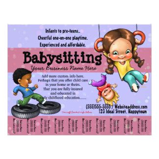 Babysitting. Day Care Customizable template Flyer