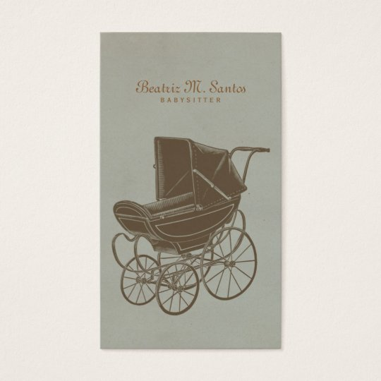 Babysitting Vintage Baby Carriage Simple Modern Business Card