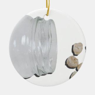 BabyTeethJar033113.png Round Ceramic Decoration