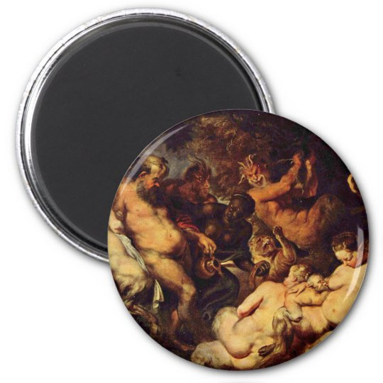 Bacchanal By Rubens Peter Paul (Best Quality) 6 Cm Round Magnet