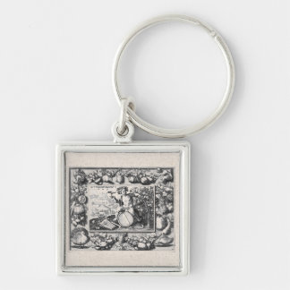 Bacchanalian Feast of Wine Silver-Colored Square Key Ring