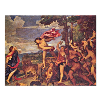 "Bacchus And Ariadne "" By Tizian (Best Quality) 11 Cm X 14 Cm Invitation Card"