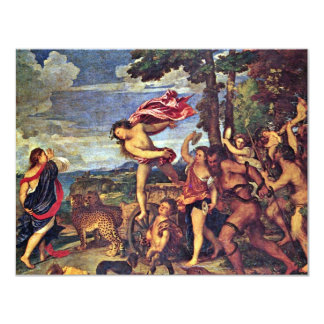 "Bacchus And Ariadne "" By Tizian (Best Quality) 11 Cm X 14 Cm Invitation Card"
