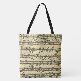 Bach Chaconne Authentic Manuscript Excerpt Tote Bag