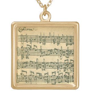 Bach Chaconne Manuscript for Solo Violin Square Pendant Necklace