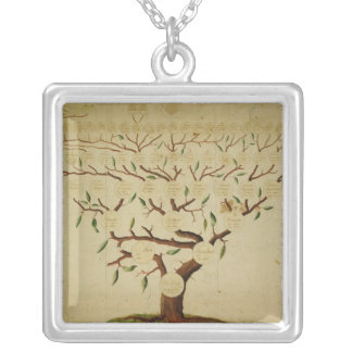 Bach Family Tree, c.1750-1770 Square Pendant Necklace