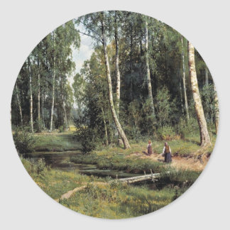 Bach In The Birch Forest By Schischkin Iwan Iwanow Classic Round Sticker