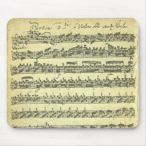 Bach Partita Music Manuscript for Solo Violin Mousepads