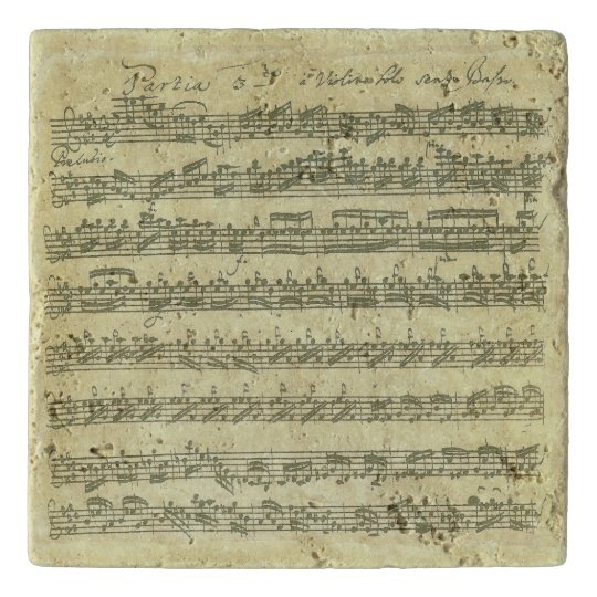 Bach Partita Music Manuscript for Violin Solo Trivet