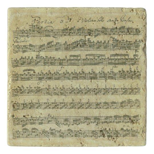 Bach Partita Music Manuscript for Violin Solo Trivets