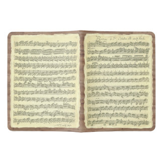 Bach Partita Music Manuscript on Wood Look Panels Extra Large Moleskine Notebook