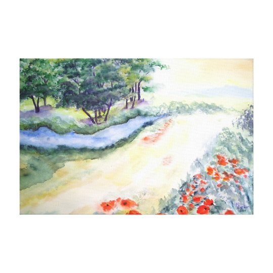 Bach Trees And Poppies From Watercolour Art Canvas