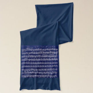 Bach Violin Partita Manuscript White on Blue Scarf