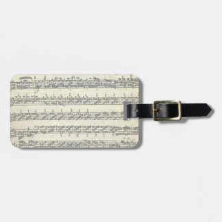 Bach Violin Partita Music Manuscript Customizable Luggage Tag