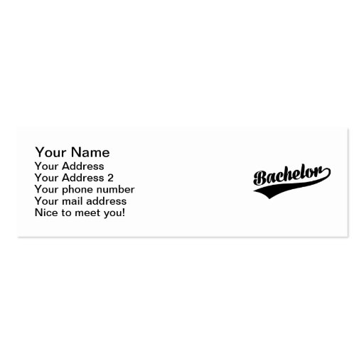 Bachelor Business Cards