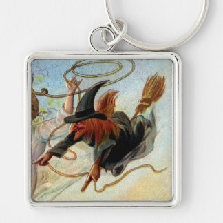 Bachelor Hunt Vintage Halloween Silver-Colored Square Key Ring