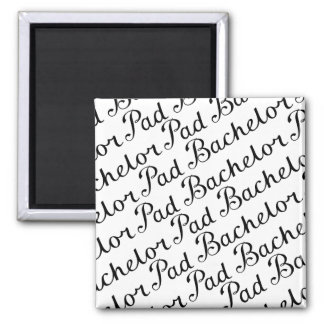 Bachelor Pad Diagonal Script Pattern B&WII Square Magnet