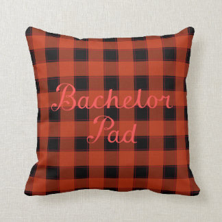 Bachelor Pad Red Script on Black & Red Check Cushion