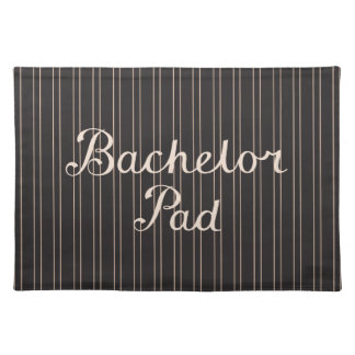 Bachelor Pad Script on Pin Stripes – Cream & Black Placemats